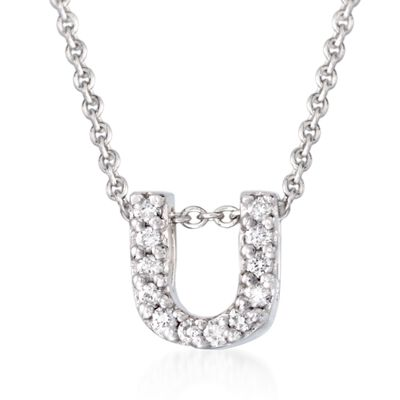 "Roberto Coin ""Love Letter"" Diamond Accent Initial ""U"" Necklace in 18kt White Gold, , default"