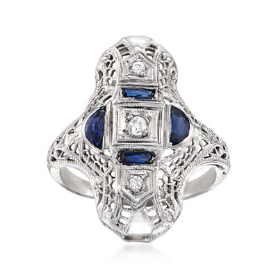 C. 1990 Vintage .30 ct. t.w. Simulated Sapphire and Diamond-Accented Dinner Ring in 18kt White Gold
