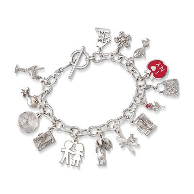 C. 1990 Vintage .48 ct. t.w. Diamond 14kt White Gold Charm Bracelet with Ruby Accent, , default