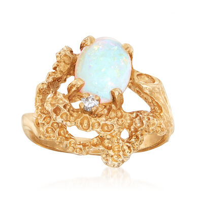 C. 1970 Vintage Opal Ring with Diamond Accent in 14kt Yellow Gold