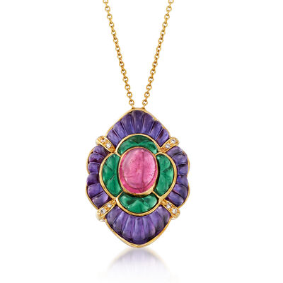 C. 1990 Vintage Multi-Gemstone Pendant Necklace with Diamond Accents in 14kt Yellow Gold, , default