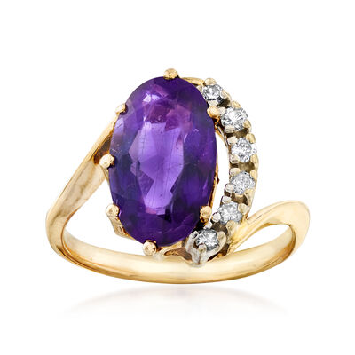 C. 1990 Vintage 2.40 Carat Amethyst and .15 ct. t.w. Diamond Ring in 14kt Yellow Gold, , default