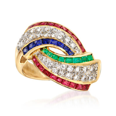 C. 2000 Vintage 2.10 ct. t.w. Multi-Gemstone and .51 ct. t.w. Diamond Ring in 18kt Yellow Gold