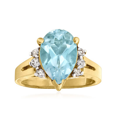 C. 1980 Vintage 3.50 Carat Swiss Blue Topaz and .25 ct. t.w. Diamond Ring in 14kt Yellow Gold