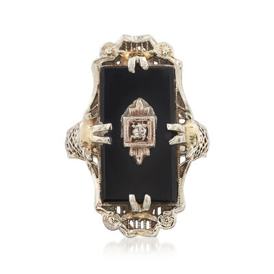 C. 1940 Vintage 15x8mm Onyx Ring with Diamond Accents in 14kt White Gold, , default