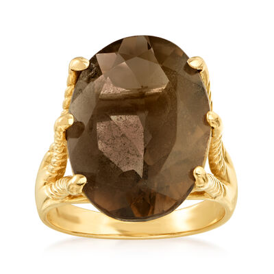 C. 1990 Vintage 10.40 Carat Smoky Quartz Ring in 14kt Yellow Gold, , default