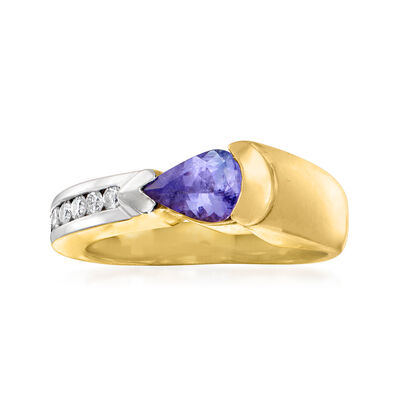 C. 1990 Vintage .65 Carat Tanzanite Ring with .20 ct. t.w. Diamonds in 14kt Two-Tone Gold