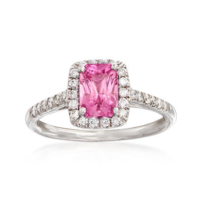 C. 2000 Vintage 1.45 Carat Pink Sapphire and .25 ct. t.w. Diamond Ring in 14kt White Gold, , default