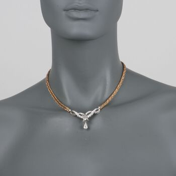 """C. 1980 Vintage 2.90 ct. t.w. Certified Diamond Ribbon Necklace in 14kt Two-Tone Gold. 16"""", , default"""