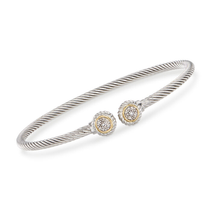 "Phillip Gavriel ""Italian Cable"" Sterling Silver and 18kt Yellow Gold Cuff Bracelet with Diamond Accents. 7"""