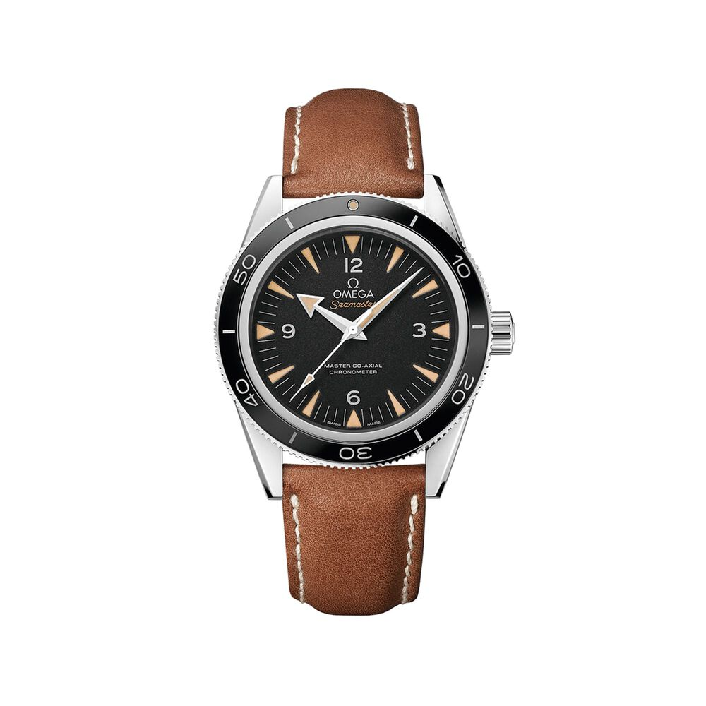 Omega Seamaster 41mm Men S Automatic Stainless Steel Watch With Brown Leather Black Dial