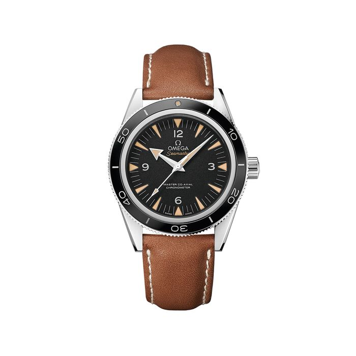 Omega Seamaster 41mm Men's Automatic Stainless Steel Watch with Brown Leather - Black Dial, , default
