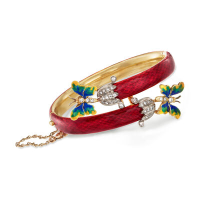 C. 1960 Vintage .80 ct. t.w. Diamond Butterfly Bypass Bangle Bracelet in 14kt Gold with Multicolored Enamel