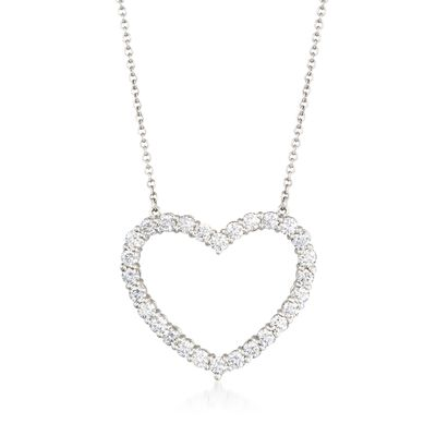 C. 1990 Vintage Tiffany Jewelry 1.00 ct. t.w. Diamond Open-Space Heart Necklace in Platinum, , default