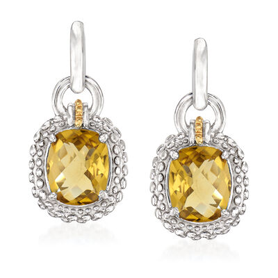 "Phillip Gavriel ""Popcorn"" 4.80 ct. t.w. Yellow Quartz Drop Earrings in Sterling Silver with 18kt Yellow Gold, , default"