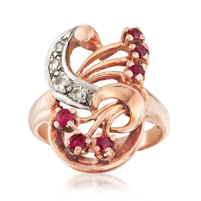 C. 1950 Vintage .35 ct. t.w. Ruby and .12 ct. t.w. Diamond Cocktail Ring in 14kt Rose Gold, , default