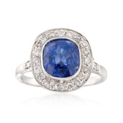 C. 1990 Vintage 3.85 Carat Sapphire and .45 ct. t.w. Diamond Ring in Platinum, , default