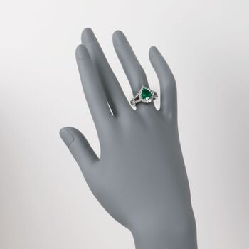 1.85 Carat Emerald and 1.00 Carat Total Weight Diamond Ring in 14-Karat White Gold. Size 7, , default