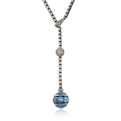 C. 2000 Vintage David Yurman 3.70 ct. t.w. Blue Topaz and .40 ct. t.w. Diamond Y-Necklace in Sterling Silver, , default