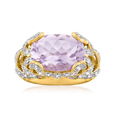 C. 1980 Vintage 5.25 Carat Amethyst Ring with .35 ct. t.w. White Synthetic Spinels in 14kt Yellow Gold
