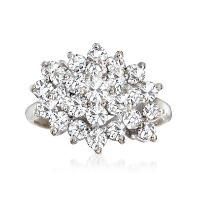 C. 1990 Vintage 1.75 ct. t.w. Diamond Cluster Ring in 14kt White Gold