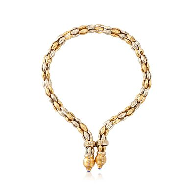 C. 1990 Vintage 18kt Two-Tone Gold Y-Necklace with Blue Synthetic Spinel and .75 ct. t.w. CZs, , default