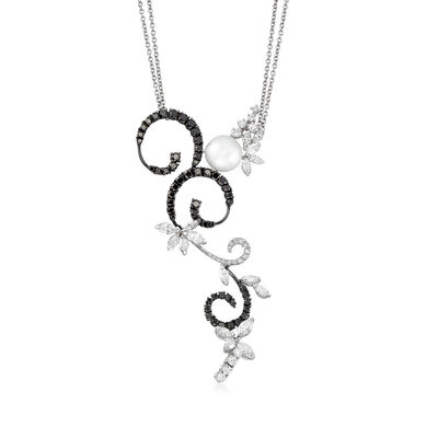C. 1990 Vintage Stefan Hafner 10mm Cultured Pearl and 4.85 ct. t.w. Black and White Diamond Swirl Necklace in 18kt White Gold