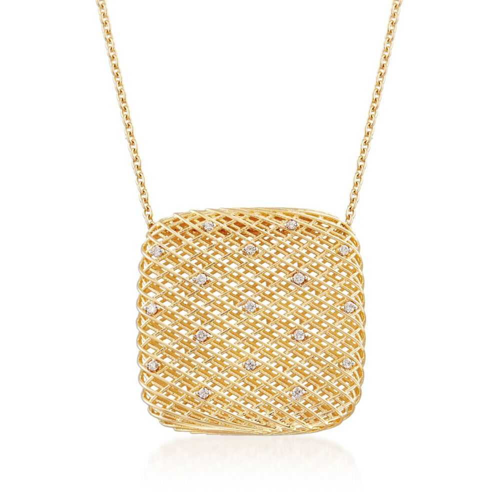 Roberto Coin Silk 13 Carat Total Weight Diamond Square Pendant