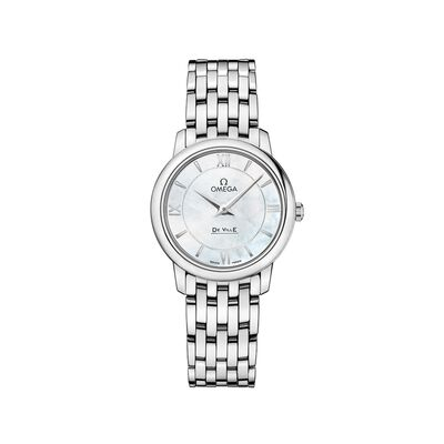 Omega De Ville Prestige Women's 27.4mm Stainless Steel Watch with Mother-Of-Pearl Dial