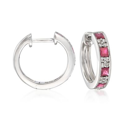 "Gregg Ruth .90 ct. t.w. Ruby and .24 ct. t.w. Diamond Hoop Earrings in 18kt White Gold. 1/2"", , default"
