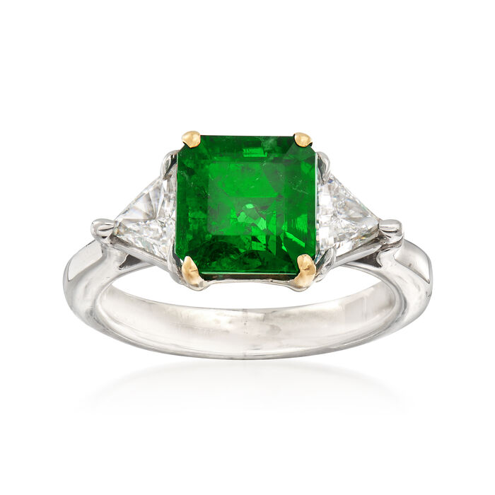 2.30 Carat Emerald and .70 ct. t.w. Diamond Ring in Platinum. Size 4.75, , default