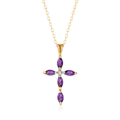 C. 1980 Vintage .75 ct. t.w. Amethyst and Diamond-Accented Cross Pendant Necklace in 9kt Yellow Gold , , default
