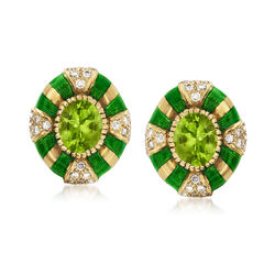 C. 1980 Vintage 5.00 ct. t.w. Peridot and 1.00 ct. t.w. Diamond Earrings in 14kt Yellow Gold, , default