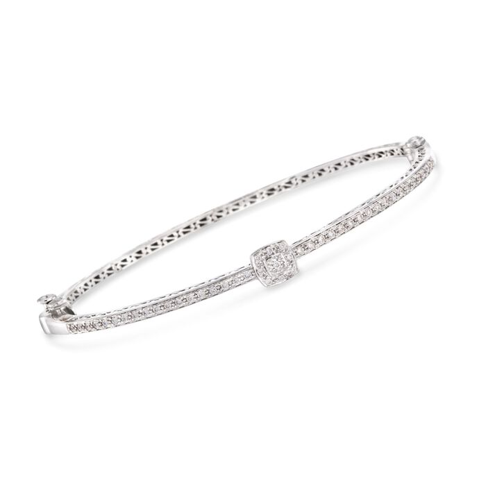"ALOR .42 Carat Total Weight Diamond Square Station Bangle in 18-Karat White Gold. 7"", , default"