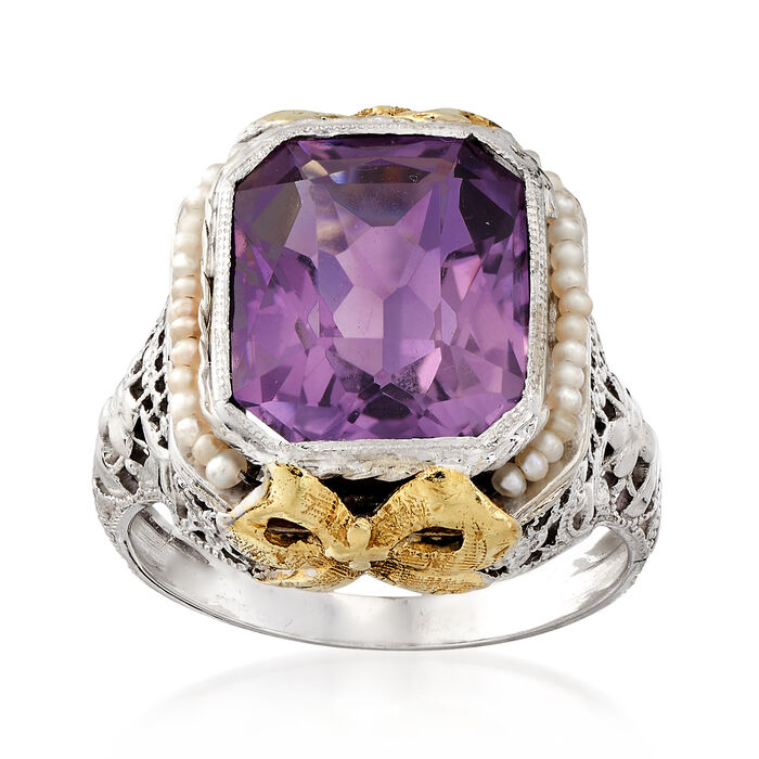 C. 1950 Vintage 3.00 Carat Amethyst Ring with Cultured Seed Pearls in 14kt Two-Tone Gold