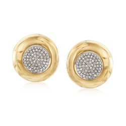.65 ct. t.w. Pave Diamond Circle Earrings in 14kt Yellow Gold, , default