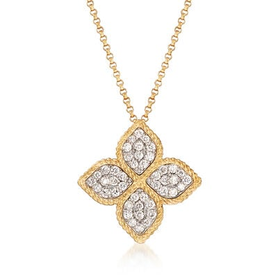 "Roberto Coin ""Princess"" .45 ct. t.w. Diamond Flower Necklace in 18kt Yellow Gold, , default"