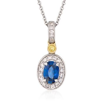 """Simon G. .50 Carat Sapphire and .16 Carat Total Weight Diamond Necklace in 18-Karat Two-Tone Gold. 18"""", , default"""