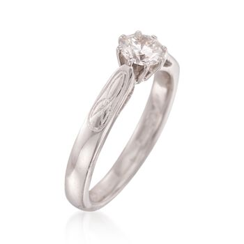 C. 1970 Vintage .50 Carat Diamond Solitaire Engagement Ring in 14kt White Gold. Size 5.5, , default