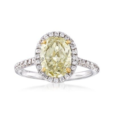 2.64 ct. t.w. Yellow and White Diamond Ring in 18kt Two-Tone Gold