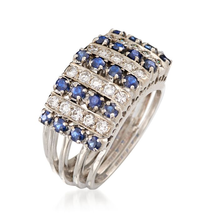 C. 1970 Vintage 1.00 ct. t.w. Sapphire and .60 ct. t.w. Diamond Ring in 18kt White Gold