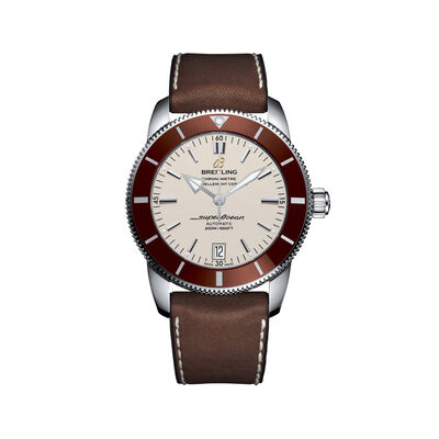 Breitling Superocean Heritage II Men's 42mm Stainless Steel Watch - Brown Leather Strap, , default