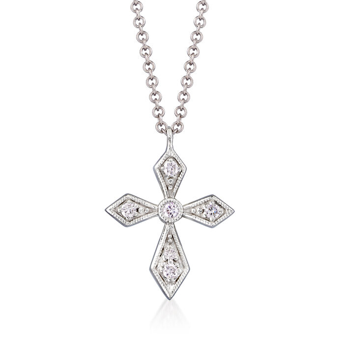 Gabriel Designs Diamond-Accented Cross Pendant Necklace in 14kt White Gold