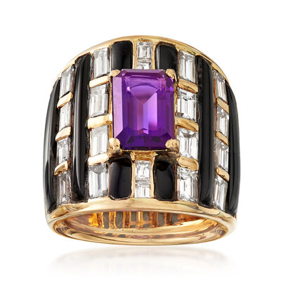 C. 1980 Vintage 4.75 ct. t.w. Diamond and 2.20 Carat Amethyst Ring with Black Onyx in 18kt Yellow Gold, , default