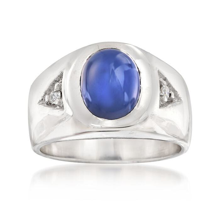 C. 1970 Vintage Synthetic Star Sapphire Ring in 14kt White Gold with Diamond Accents