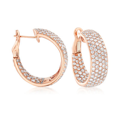 C. 2000 Vintage 6.54 ct. t.w. Diamond Inside-Outside Hoop Earrings in 14kt Rose Gold