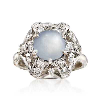 C. 1960 Vintage 4.00 Carat Star Sapphire and .35 ct. t.w. Diamond Ring in Platinum