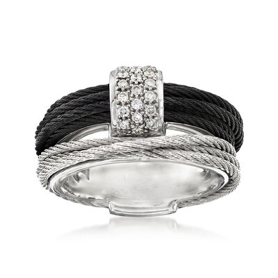 "ALOR ""Noir"" .16 ct. t.w. Diamond Two-Tone Stainless Steel Cable Ring with 18kt White Gold, , default"
