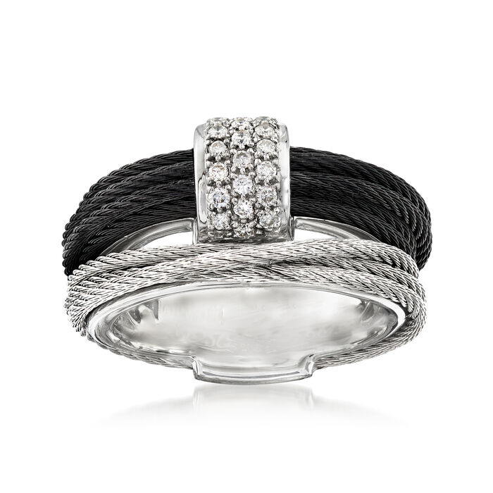 """ALOR """"Classique"""" .16 ct. t.w. Diamond Two-Tone Stainless Steel Cable Ring with 18kt White Gold. Size 7, , default"""