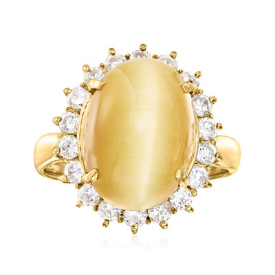 C. 1980 Vintage Cat's Eye Brown Tourmaline Ring with .73 ct. t.w. Diamonds in 18kt Yellow Gold